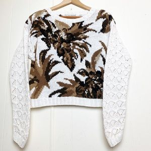 Vintage Fall Leaf Print Textured Cropped Sweater